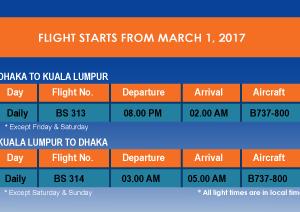 us-bangla Dhaka to Kuala Lumpur Flight Schedule