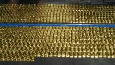 Photo of 124 kg gold seized from an aircraft