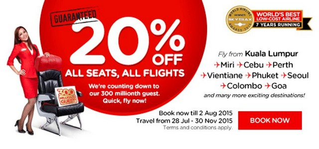 20% discount on all airasia flights